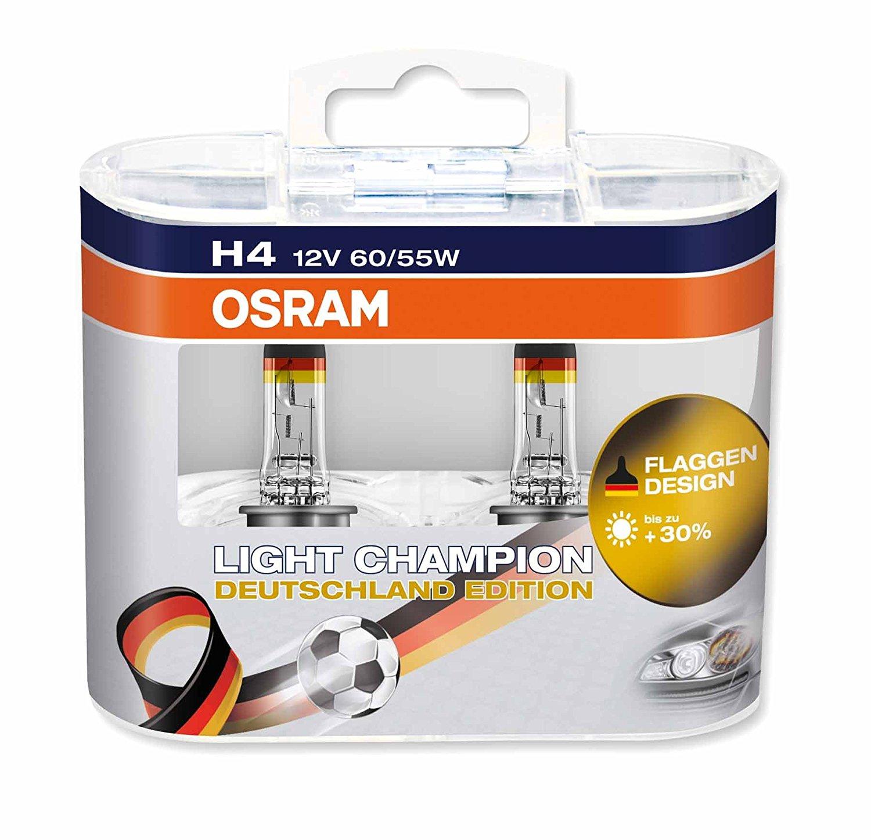 Light Champion Deutschland Edition Scheinwerferlampe (2 Stück), OSRAM LCG H4 für 1,87€ statt 14,99€ / OSRAM LCG H7 für 6,15€ statt 16,99€