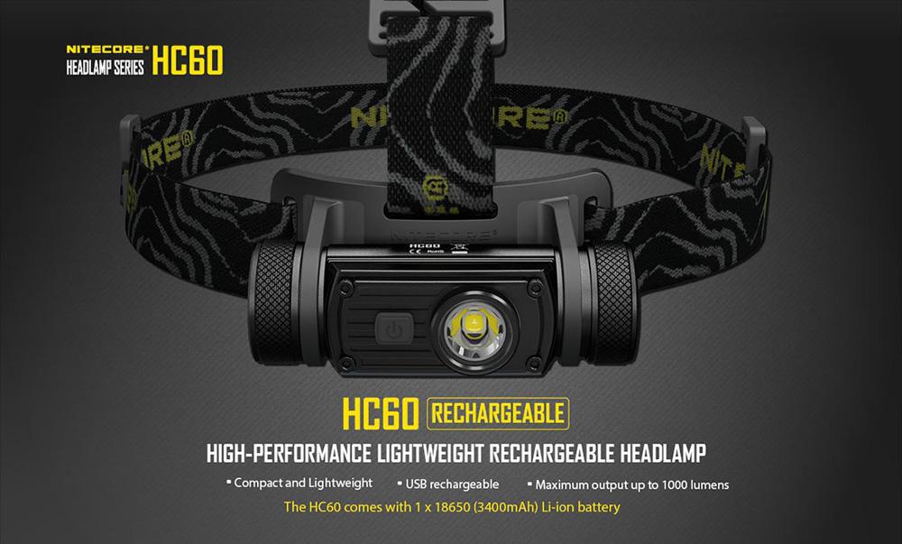 [Gearbest] Nitecore Stirnlampe HC60 inkl. USB Ladefunktion und 18650 Akku, mit echten 1000 Lumen für 38,17 - PVG 69,95