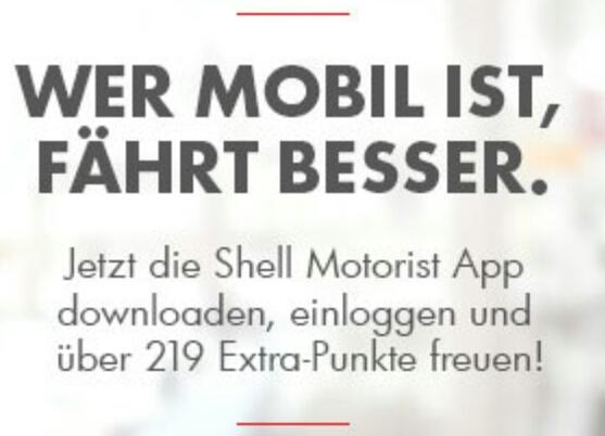 Shell Clubsmart 219 Punkte Gratis für App Download