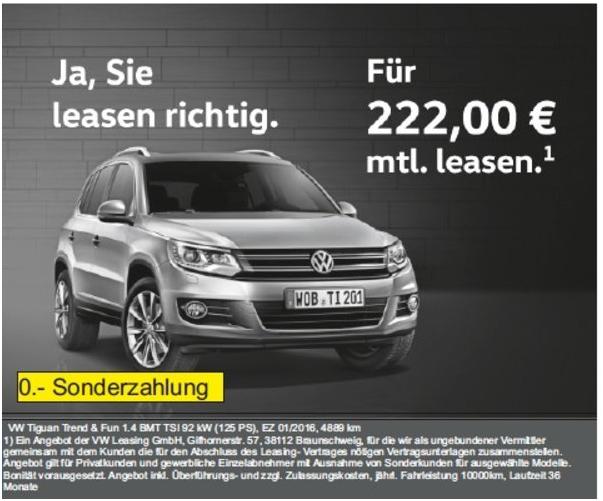 [Privatkundenleasing + Firmenleasing] Jahreswagen VW Tiguan 1.4 TSi