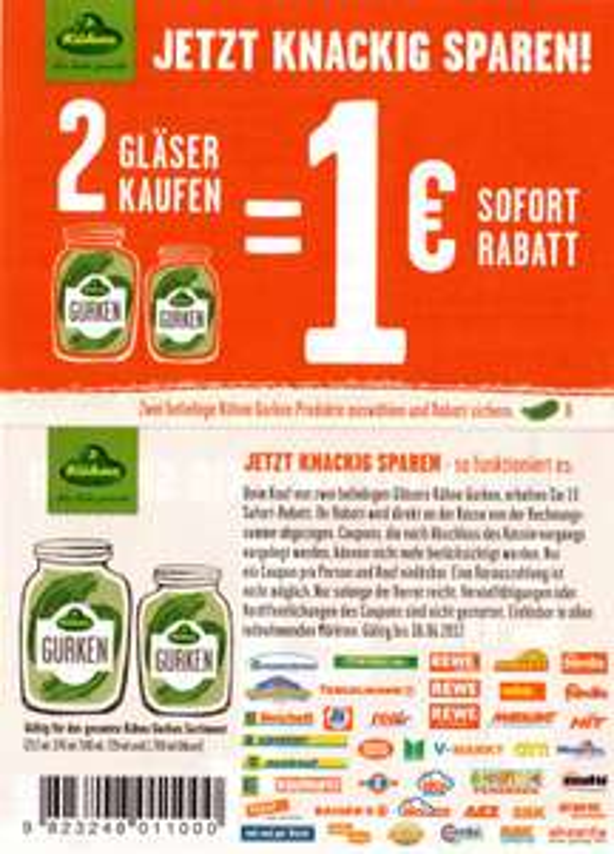 Neuer Kühne 1€ Sofort-Rabatt Coupon auf 2 Gläser Kühne Gurken (bundesweit)