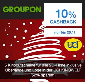 (Shoop) (Groupon) 5x UCI Kinogutscheine für alle 2D Filme (inkl. Überlänge und Logenaufschlag) für effektiv 28,80€
