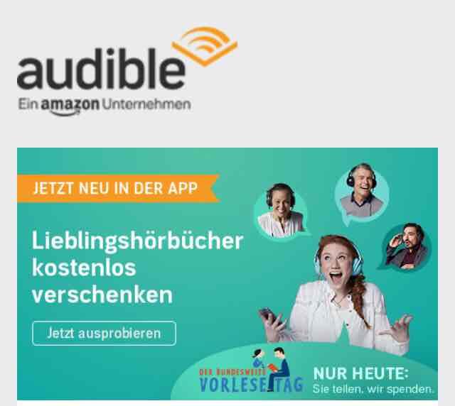 [audible] Hörbücher kostenlos verschenken und dabei Gutes tun!