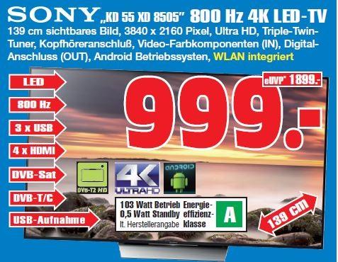 [LOKAL GE] Sony KD55XD8505 4K UHD HDR schwarz // PVG 1.246€ //