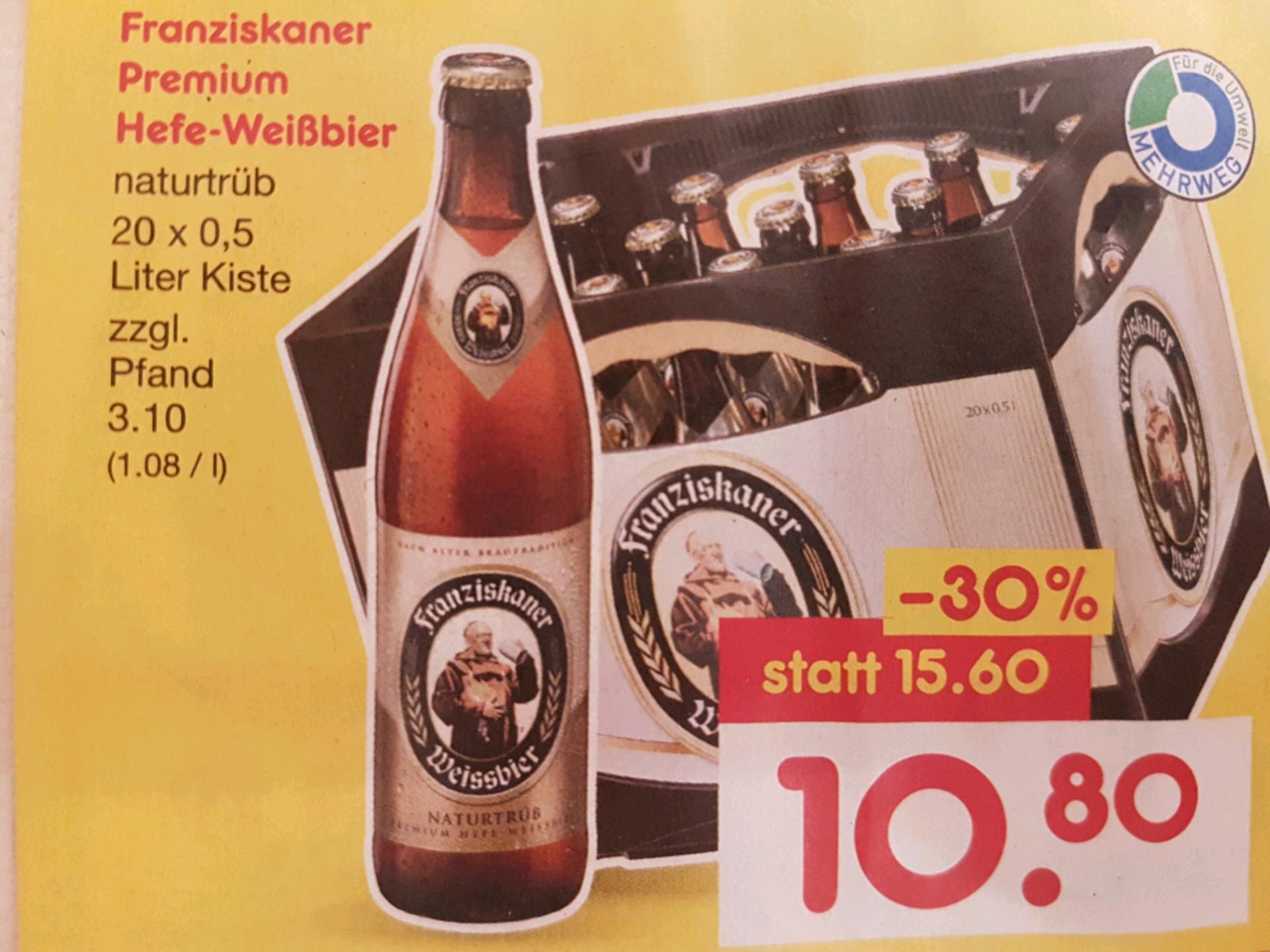 [Lokal - München & Grafing] NETTO ohne Hund: Kasten Franziskaner Weißbier (20 × 0,5l) für 8,64€