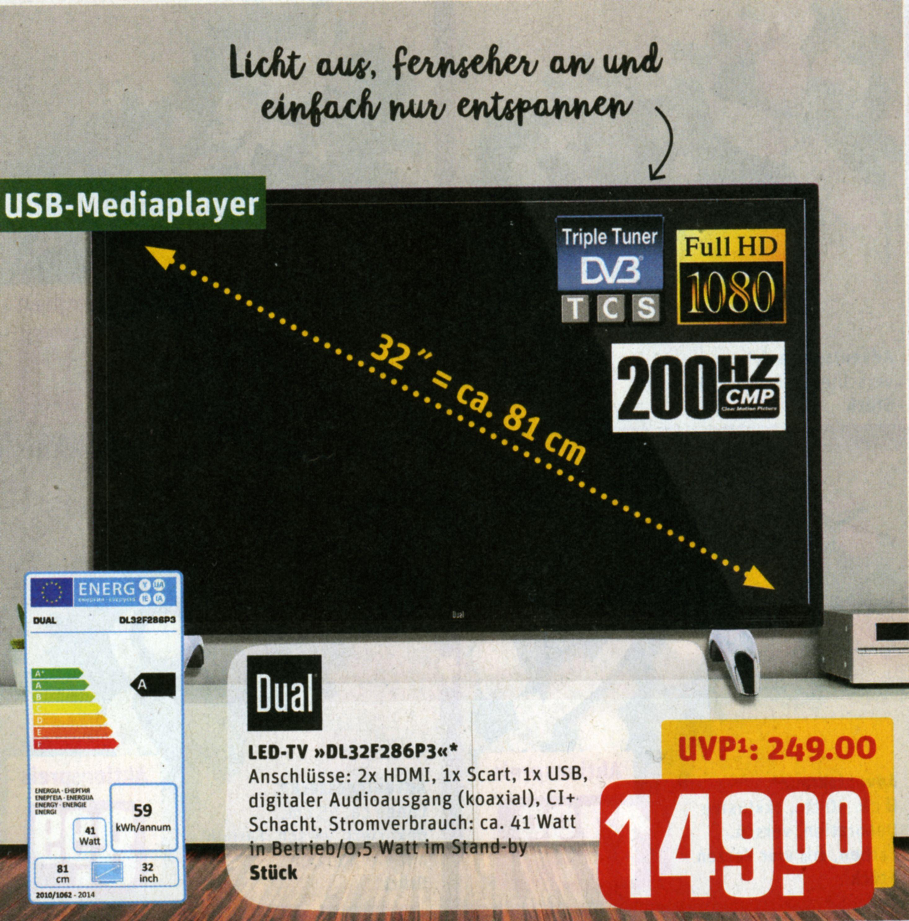 "32 "" LED Full HD Fernseher bei REWE ab 21.11.2016 für 149 Euro"