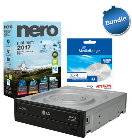 "LG Blu-ray Brenner ""BH16NS55"" + Nero AG 2017 Platinum + Blu-ray Rohling"