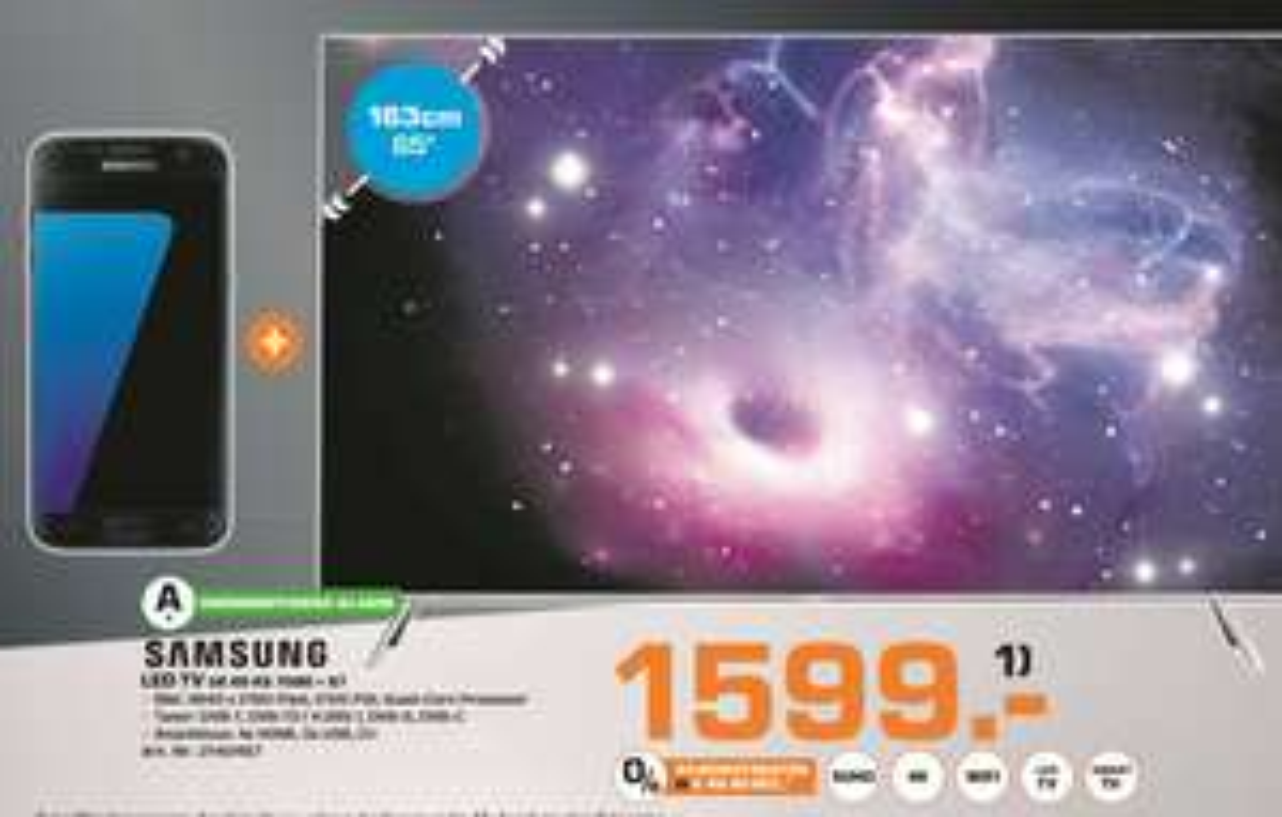 [Saturn Herford ab 24.11 bzw. ab sofort] Samsung UE65KS7090 LED TV (Flat, 65 Zoll, UHD 4K, SMART TV) , EEK: A+ inc. Samsung Galaxy S7 für 1638,-€ Bundesweit. Lokal für 1599,-€ **In Bielefeld für 1699,-€**