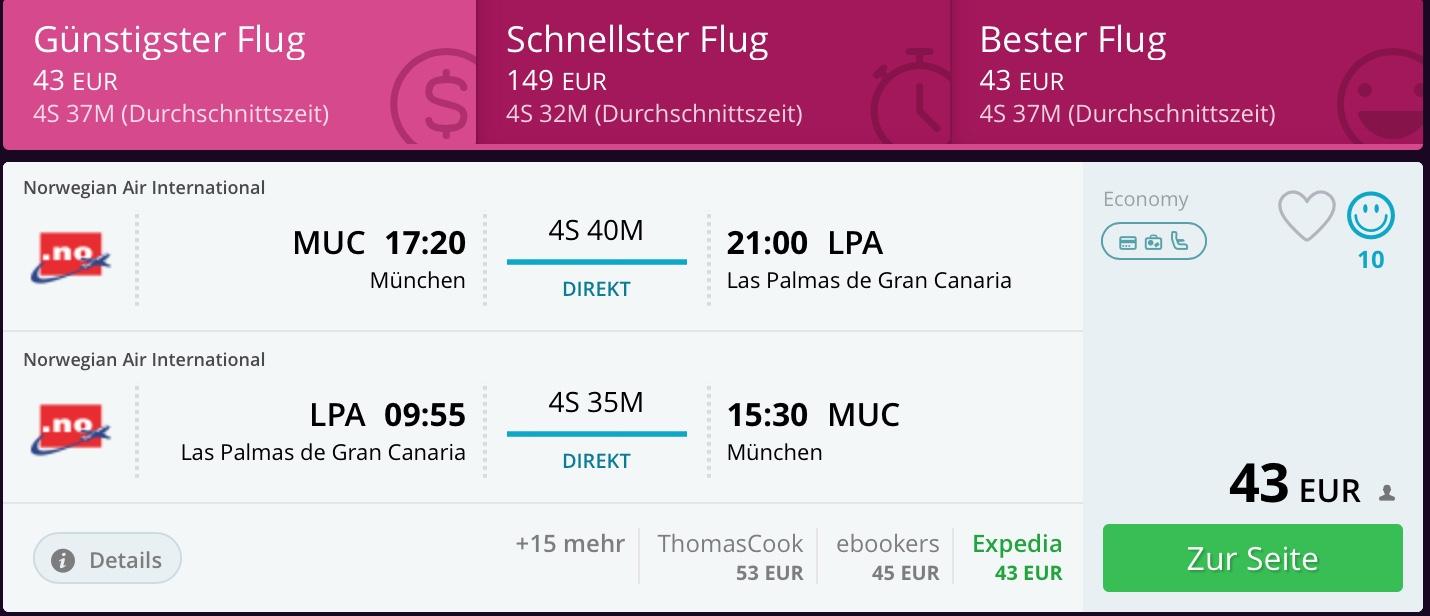 Kurzfristig Sonne tanken: Hamburg - Gran Canaria (HAM-LPA) nur 43 Euro Return