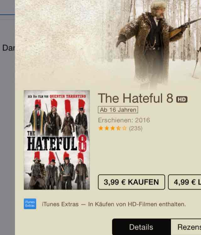 Hateful 8 iTunes HD Kauf €3,99
