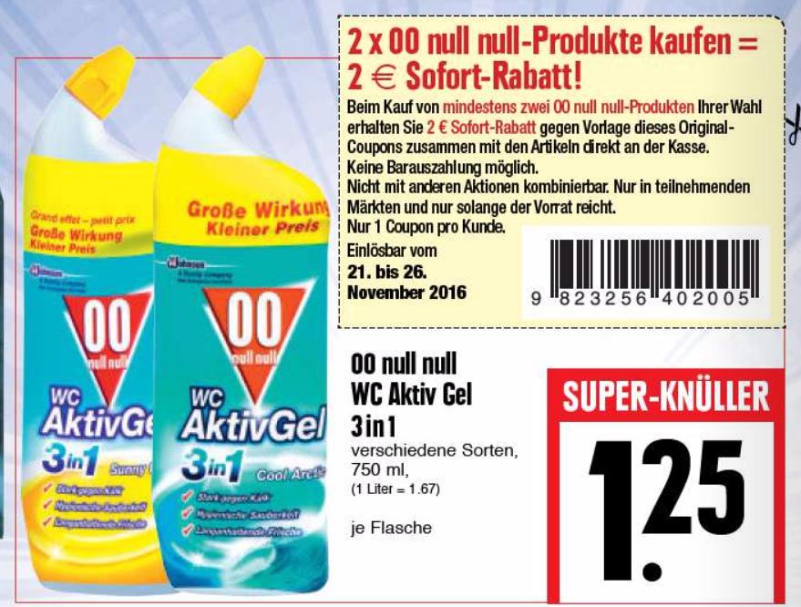 2x 00 Null Null WC Aktiv Gel 750ml für 0,25€/Flasche [Edeka=>Gästeklo]