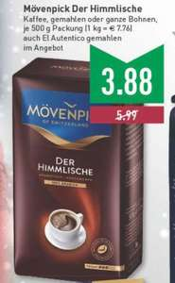 [Edeka / Marktkauf deutschlandweit] Mövenpick Der Himmlische Kaffee 500g für 3,88