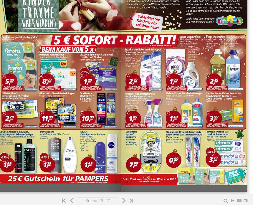 Real . kaufe 5 Produkte = 5 Euro Rabatt - Lenor Weichspüler * Waschmittel