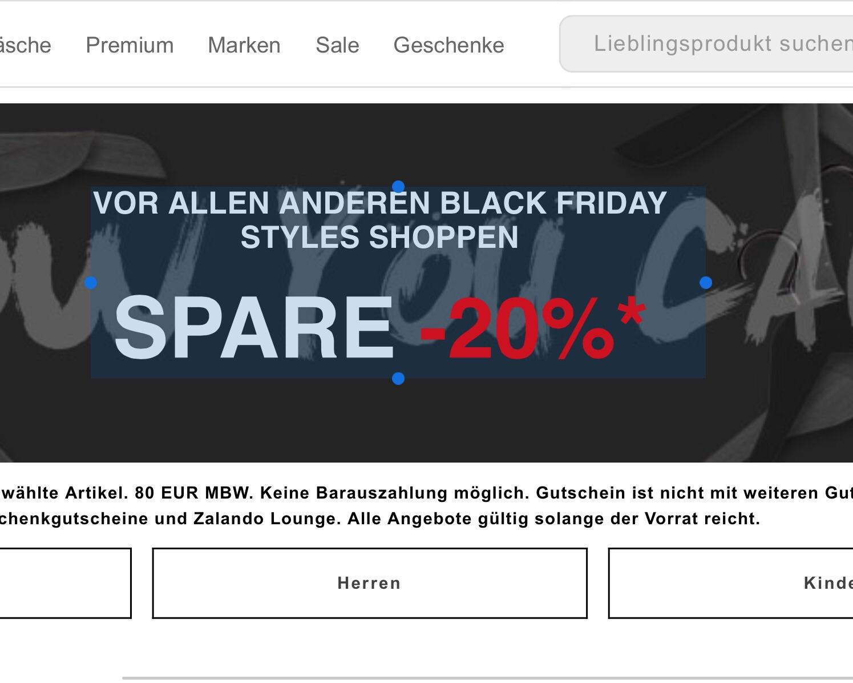 Black Friday Zalando Early Access 20 % auf über 95000 Items