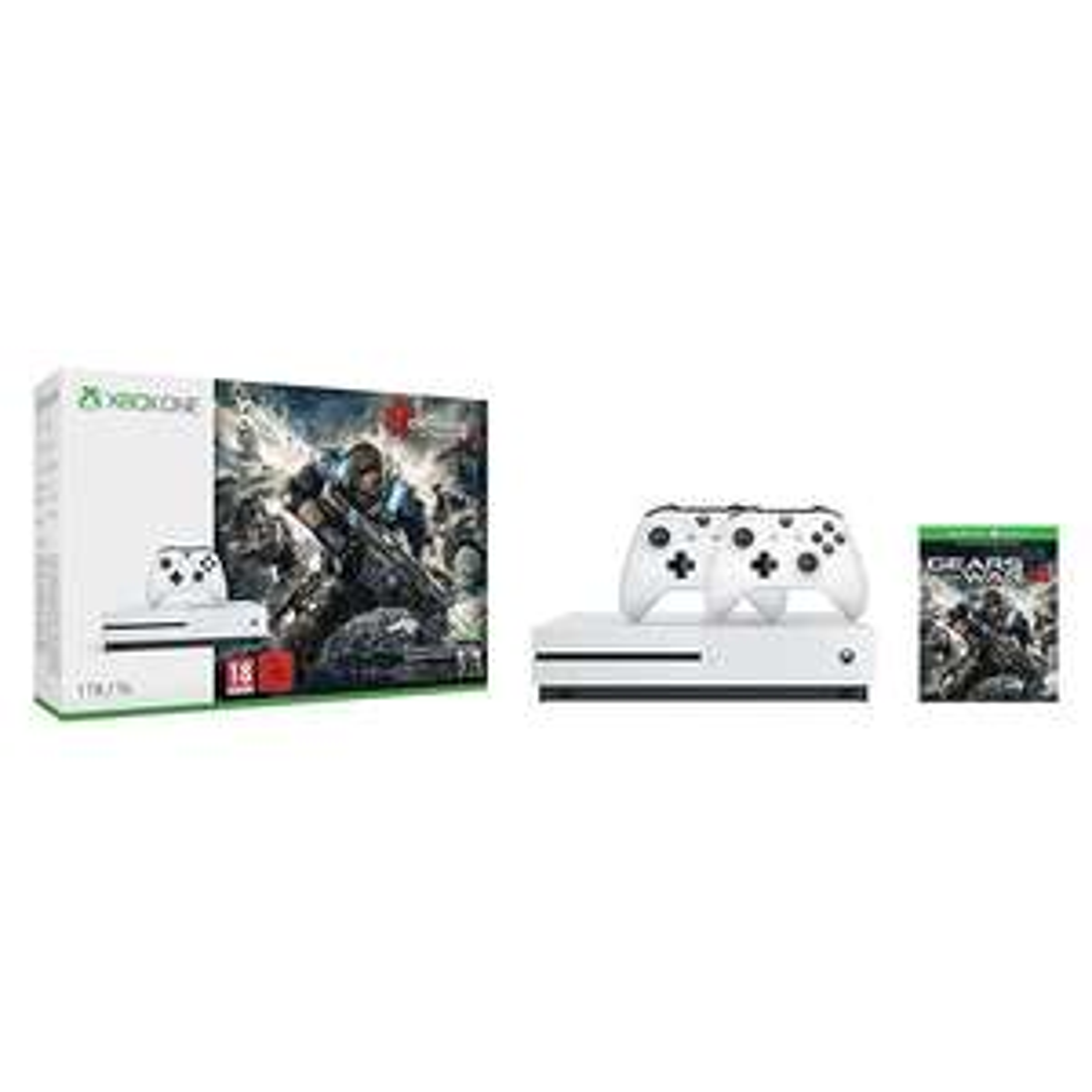 Xbox One S 1TB Konsole - Gears of War 4 Bundle + 2. Controller