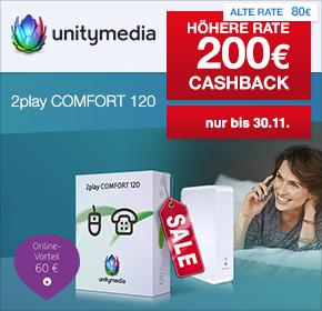 (Shoop) Unitymedia: 60€ Online Vorteil & 200€ Cashback auf 2Play Comfort 120 Tarif mit 120 Mbit/s für 17,49€ monatlich!