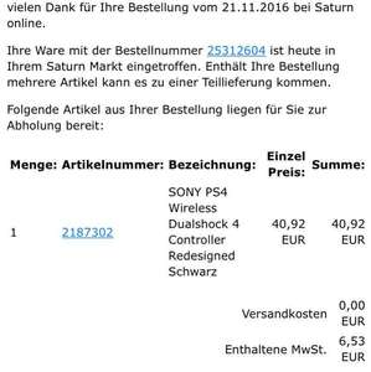 Saturn Online: PS4 Dualshock 4 Controller (2016 Version) für 40,92€ (VGP 52,89€) | Bedingung im Deal