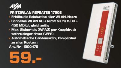 [Lokal Saturn Berlin/Potsdam ab 24.11] AVM FRITZWLAN Repeater 1750E Dual-WLAN 1.300 MBit/s 20002714 für 59,-€