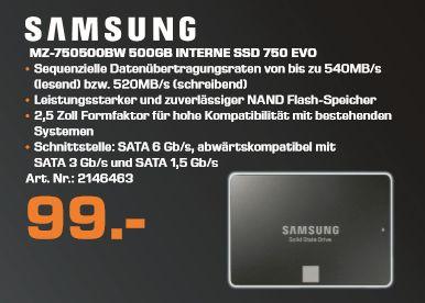[Lokal Saturn Berlin/Potsdam ab 24.11] Samsung 750 EVO MZ-750500BW 500GB interne SSD (6,35 cm (2,5 Zoll)) schwarz für 99,-€