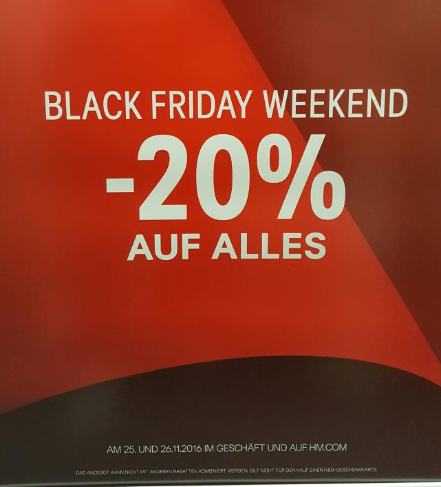 Am Freitag&Samstag 25.11.-26.11. 20% auf Alles (außer SALE) in den H&M Stores & Online Shop #BlackFriday