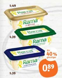 Rama mit Butter 225g für 0,39€ statt 1,49€ bei Tegut