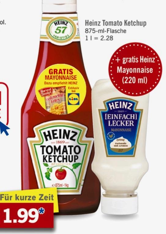 Heinz Tomato Ketchup 875 ml + Heinz Einfach Lecker Mayonnaise 220 ml für 1,99€ | Lidl