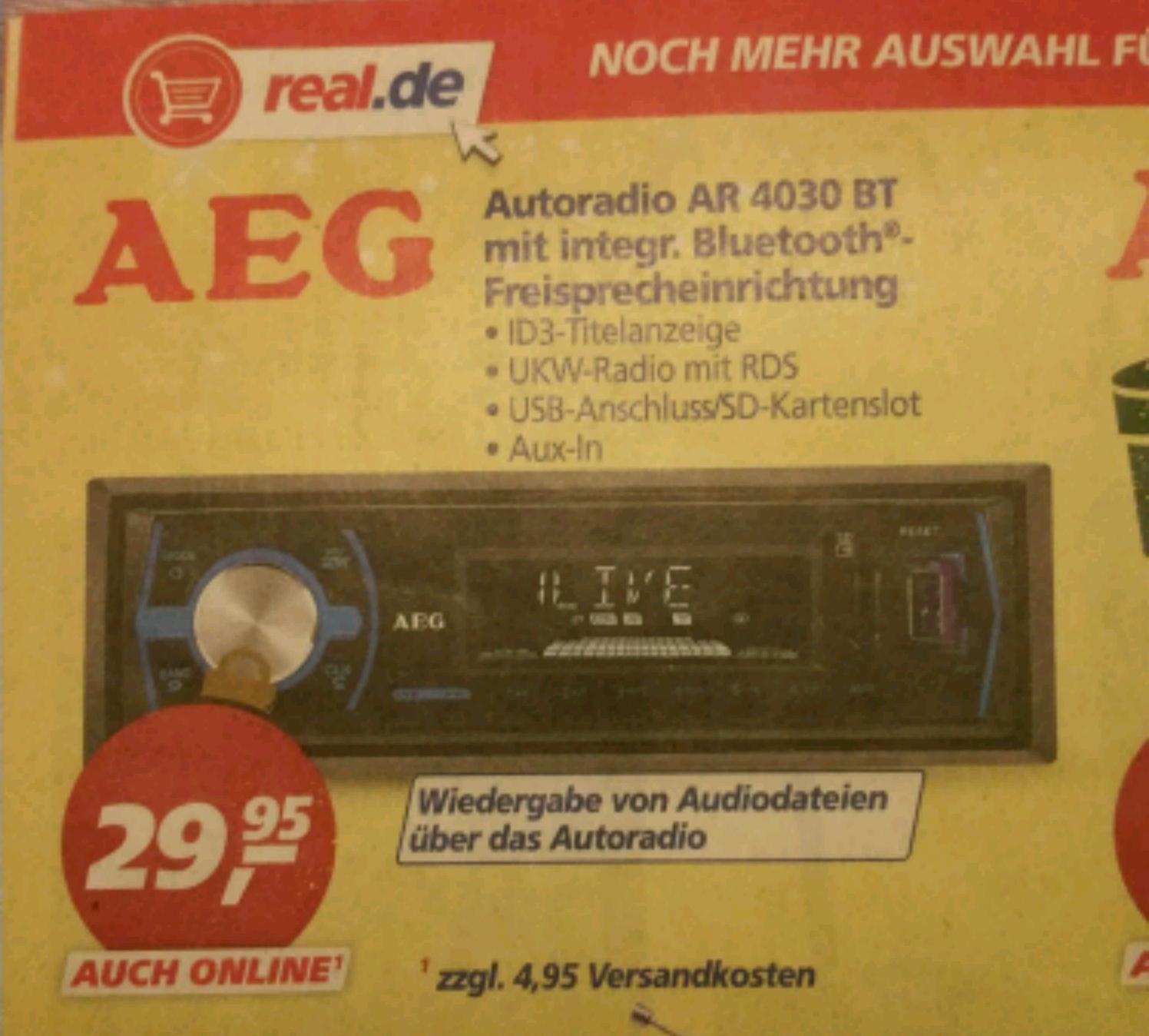 AEG Autoradio mit Bluetooth, SD Card Slot, USB und Aux-In