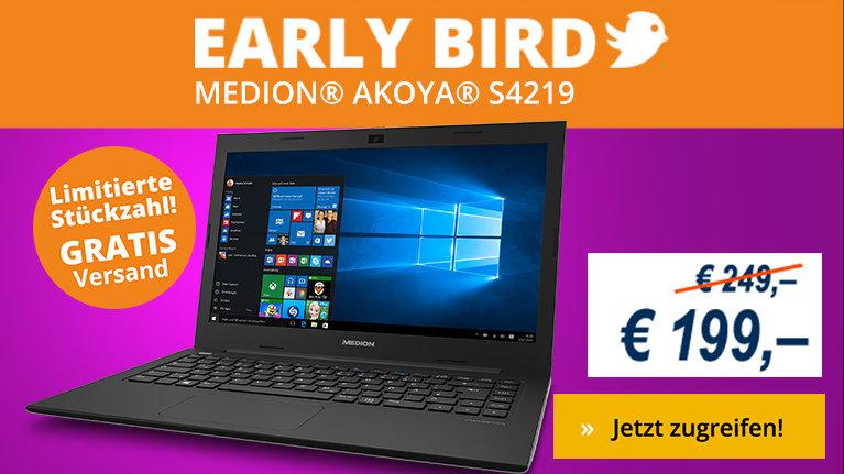 Early Bird Aktion bei Medion - heute Notebook