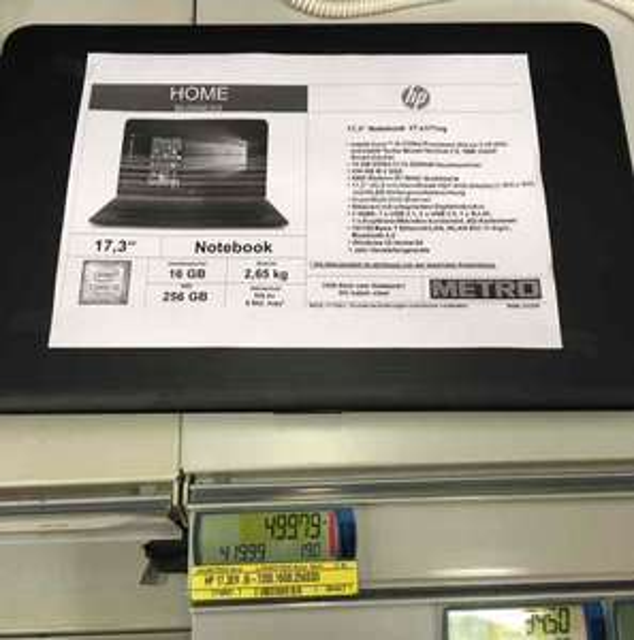 [Metro/ Bundesweit] HP 17-x171ng 17 Zoll, Intel i5 7. Generation , 256 SSD, 16 GB RAM  499€