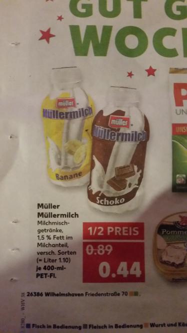Kaufland Bundesweit Müller Milch 400ml 1/2 Preis für 0.44€