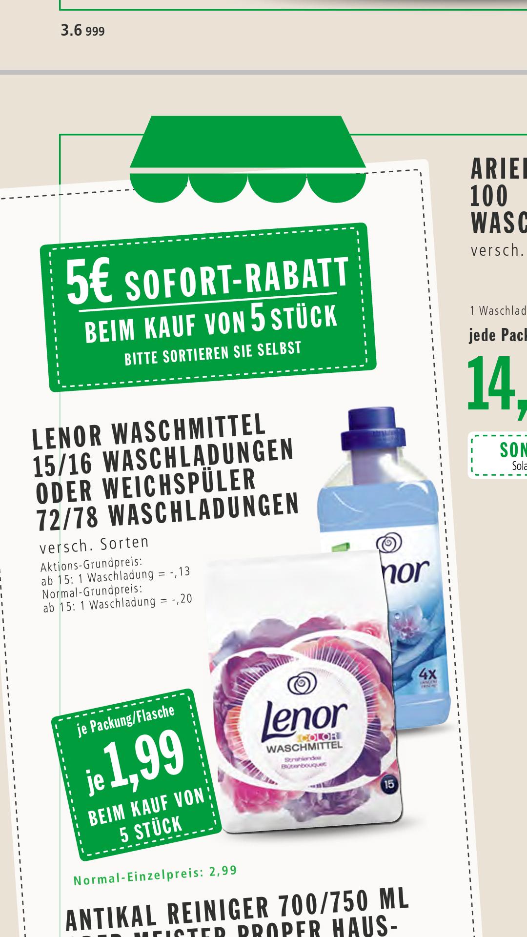 Lokal, Lenor Weichspüler 1,99€ je Flasche (bei 5 Flaschen) in Markthalle Krefeld (Real)