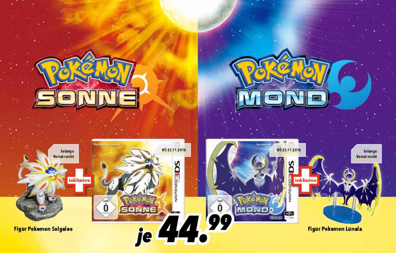 Pokémon Sonne/Mond + Figur Solgaleo/Lunala für 44,99 € [Medimax Bundesweit]