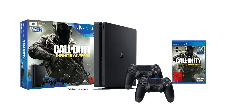 PlayStation 4 - Konsole (1TB, schwarz,slim) inkl. Call of Duty: Infinite Warfare + 2 DualShock 4 Contoller für 304€ / + Dishonored 2 Limited Edition für 334€ [Amazon Cyber Monday Woche]