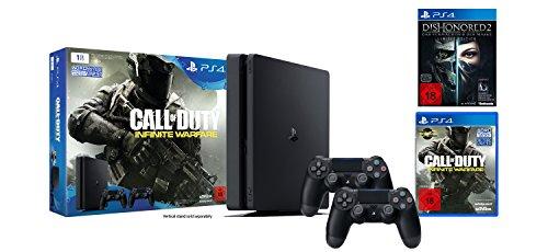 PlayStation 4 - Konsole (1TB, schwarz, slim) inkl. Call of Duty: Infinite Warfare + 2 DualShock 4 Contoller + Dishonored 2: Das Vermächtnis der Maske - Limited Edition (inkl. Definitive Edition)