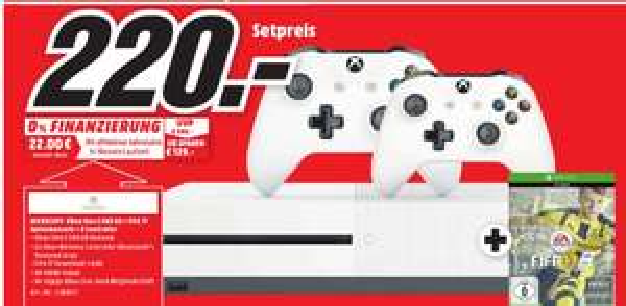 [Lokal Mediamarkt Meerane] Microsoft Xbox One S 500GB + FIFA 17 + 2.Controller für 220,-€