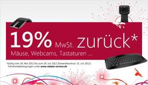 19% zurück auf Microsoft Hardware vom 14.05. bis 14.07.2012 Mäuse, Tastaturen, Webcams...