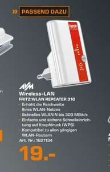 (Lokal) AVM FRITZ!WLAN Repeater 310 für 19€ @ Saturn Duisburg