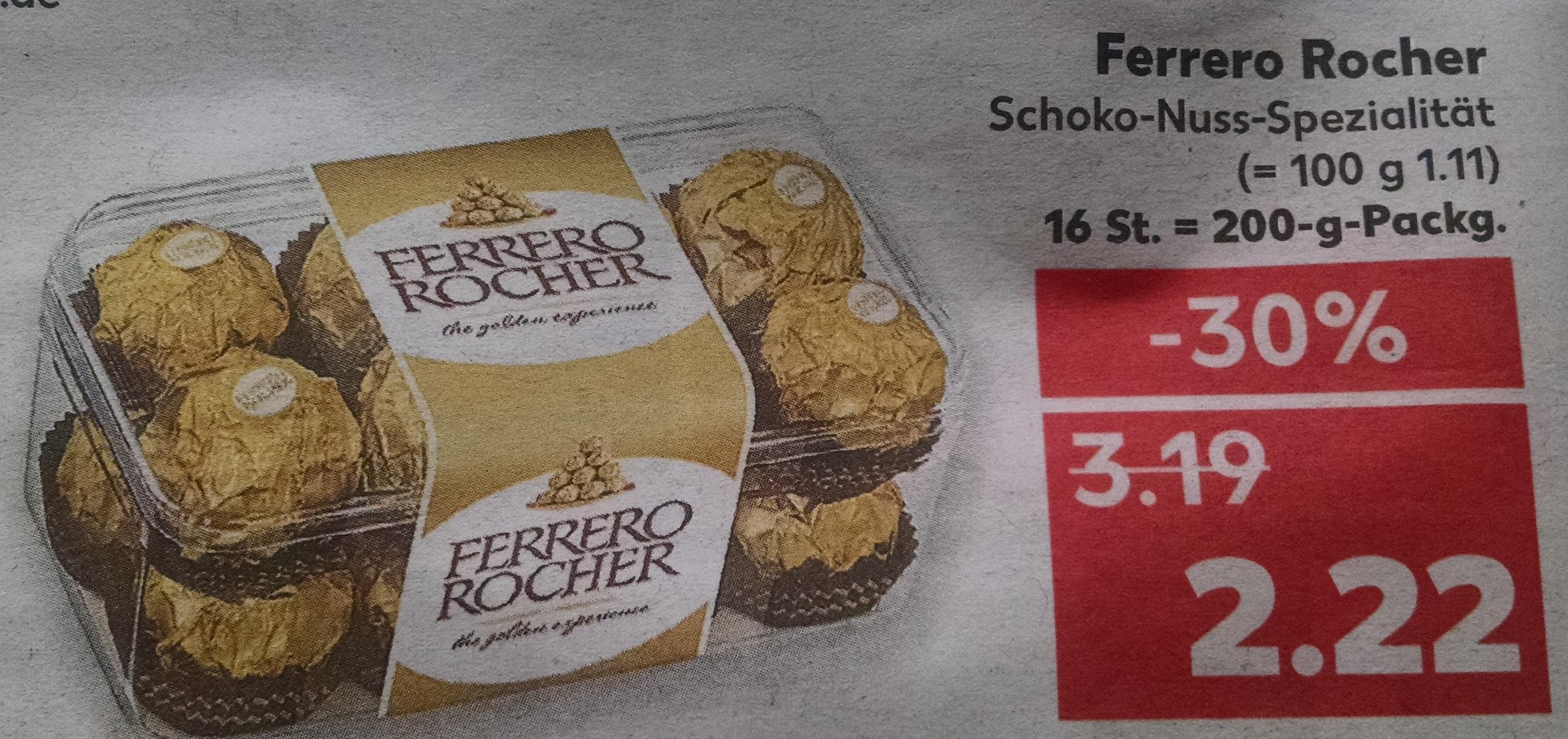 [Kaufland] bundesweit   Ferrero Rocher   30% billiger   2,22€ statt 3,19€