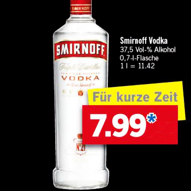 Smirnoff Vodka am Samstag 3.12. für nur 7,99€ UND direkt noch den Christkindl Glühwein für nur 0,79€ mitnehmen bei [Lidl]