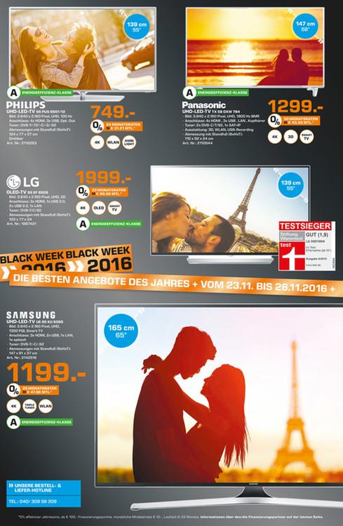 [Saturn Hamburg] Panasonic TX-58DXW784 - UHD-LED-TV - 3D - 4K Pro HDR - effektiv 1.174 € durch Cashback