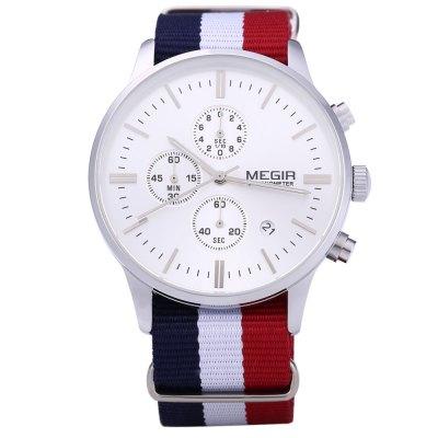 Gearbest - MEGIR Herren Sport Chronometer Kalender Datum Quarz Handgelenk Uhren-SILVER: 12.67 € inkl Versand -> statt 27,99 €