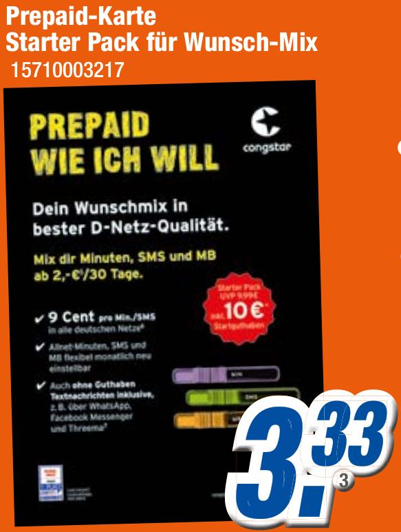 [Expert Klein] Congstar Prepaid, 10€ Startguthaben