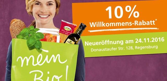 [Lokal Regensburg] 10% Willkommensrabatt in neu eröffneter Alnatura-Filiale (24.11. - 3.12.)