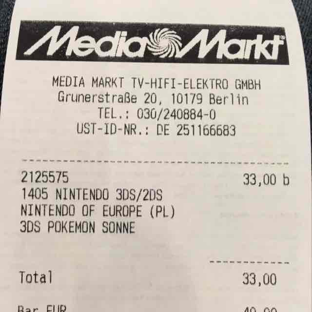 [lokal Berlin] Pokémon Mond/Sonne je 33,- €