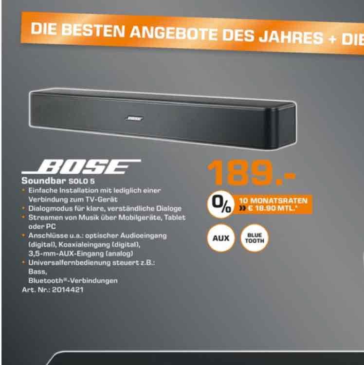[Lokal Saturn Ludwigsburg] Bose Soundbar Solo 5, 189€
