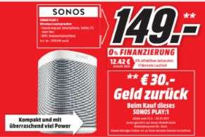 [Lokal Mediamarkt Paderborn] Sonos PLAY:1 I Kompakter Multiroom Smart Speaker für Wireless Music Streaming (Weiß) für 149,-€