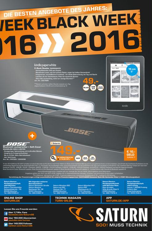 [Lokal München ab 24.11] Bose SoundLink Mini 2 Limited + Softcover Setpreis 149,-€ + 10,-€ Cashback bei Registrierung über Bose