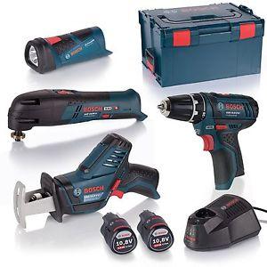 [eBay PowerWOW] Bosch 4 Tool 10,8V QUATTRO PACK mit Akku-Bohrschrauber, -Multifunktionswerkzeug, -Säbelsäge & -Lampe + 2x 2,0Ah Akku + Lader + L-Boxx