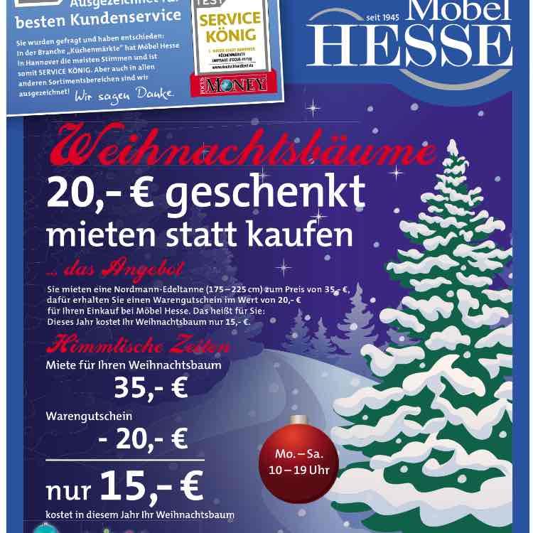 [Lokal] Möbel Hesse Hannover Weihnachtsbaum Aktion 35 € + 20 € Gutschein