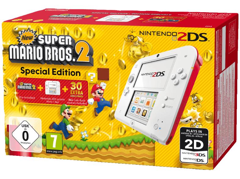 """Nintendo™ - Konsole """"2DS"""" (Weiß/Rot) inkl.New Super Mario Bros. 2(vorinstalliert) ab €73,11 [@Saturn.de]"""